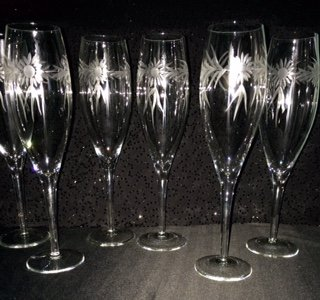 Etched Daisy Wreath Cut Stemware Champagne Flute Crystal Glassware Set of ()