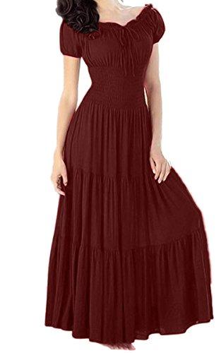 [Women short sleeve boat neck Tunic ruffles solid Maxi long dress Boho] (Renaissance Style Dress)