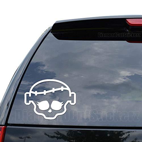 Frankie Monster High Skull Decal Sticker Car Truck Motorcycle Window Ipad Laptop Wall Decor - Size (15 inch / 38 cm Wide) - Color (Matte White)