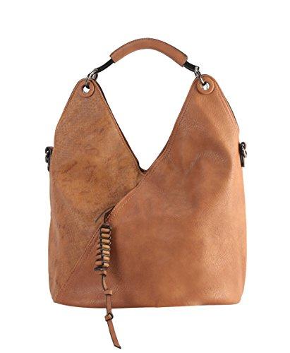 Diophy PU Leather V Shape Front Pocket with Animal Print Pattern Hobo Handbag - Hobo Animal Print