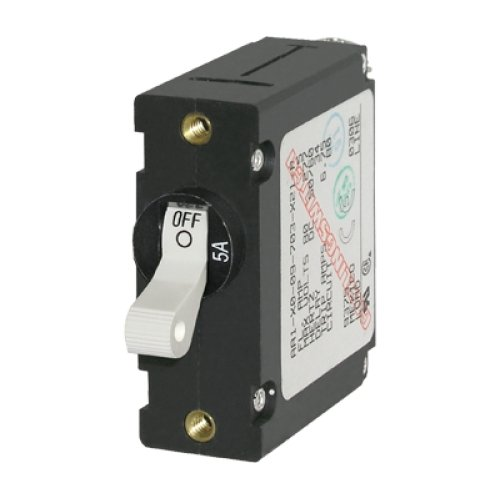 BLUE SEA SYSTEMS BS-7206 / Circuit Breaker, A Series, single pole, white toggle switch, 10A AC/DC, MFG# 7206, Magnetic/hydraulic operation, panel mount with 5/8