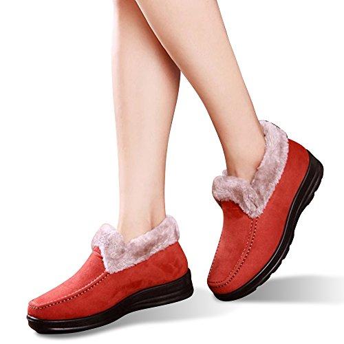 Labato Style Damen Winter Short Schneestiefel Warm Slip-On Wanderschuhe Pelz gefüttert Schuhe Orange