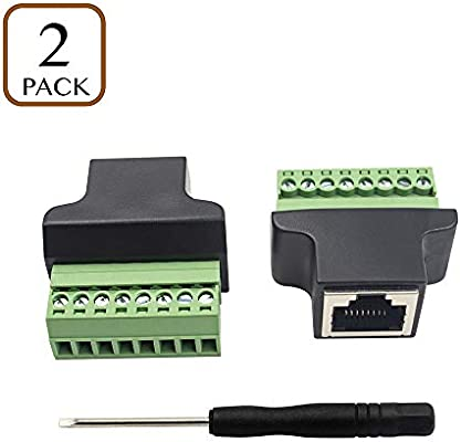 Poyiccot Rj45 Screw Terminal Adaptor Connector 2pack Rj45 8p8c Female Jack To 8 Pin Screw Terminal Connector For Cat7 Cat6 Cat5 Cat5e Ethernet