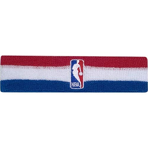 Bare Feet Embroidered Headband - Official NBA On-Court Logoman Headband - Red/White/Blue