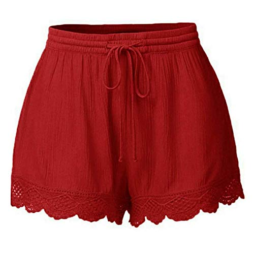 Alternative Ladies Destroyed T-shirt - JOFOW Pajamas Shorts for Women Casual Solid Ruffle Lace Cuff Loose High Waist A Line Comfy Mini Pants Drawstring Trousers (5XL,Red -1)