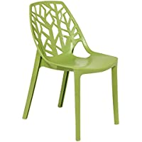 LeisureMod Caswell Cut-Out Tree Design Modern Dining Chairs (Solid Green)