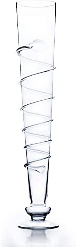 WGV Trumpet Vase Bulk, Open Width 10 , Height 25.5 , Vine Swirl Clear Glass Unique Floral Container, Planter Centerpiece for Wedding Party Ceremony Event Home Office Decor, 8 Pieces