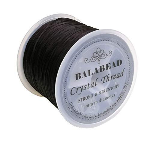 Cord Knot Stretch (BALABEAD 1mm Strong Elastic Stretch Crystal String Cord for Jewelry Making Bracelet Beading Thread 60m/roll (Black))