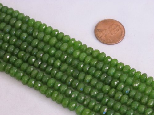 Mountain Jade Beads (BRCbeads Mountain Jade (Dyed) Green Color 4x6mm Rondelle 100pcs 15.5'' Per Strand)
