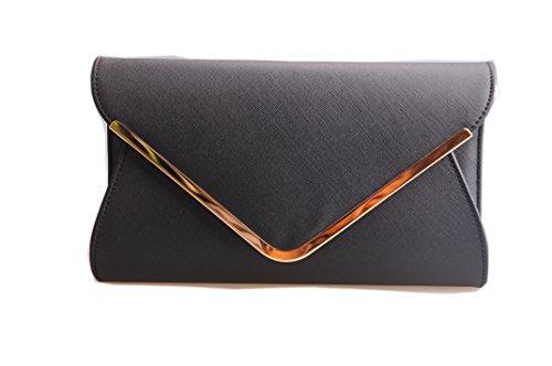 Girly HandBags Faux Suede Clutch Bag Envelope Metallic Frame Plain (Suede Clutch Purse)