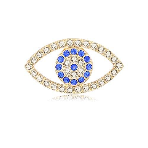 MANZHEN Good Lucky Blue Crystal Rhinestone Evil Eye Magnetic Brooch Pin (gold) (Rhinestone Eyes Brooch)