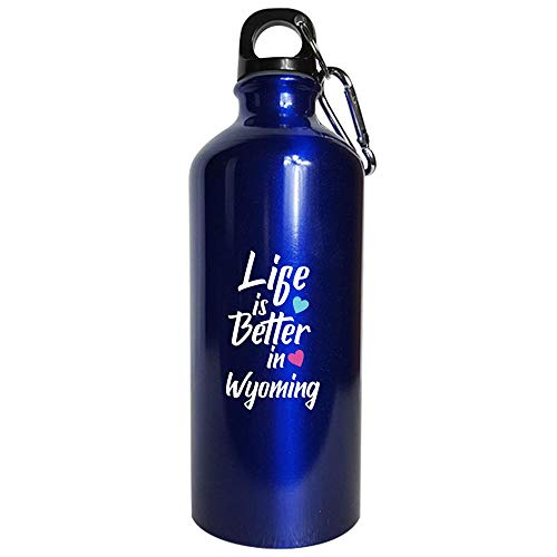 Life Is Better In Wyoming Pride - Water Bottle Metallic Blue