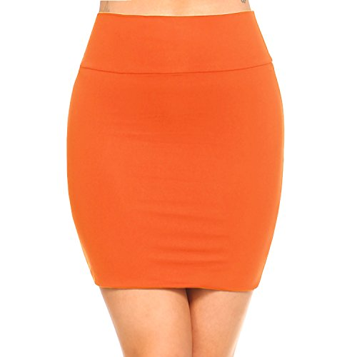 Skirt Spandex Reversible (Fashionazzle Women's Casual Stretchy Bodycon Pencil Mini Skirt (X-Large, KS06-Orange/Spandex))