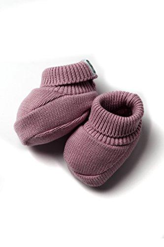 Patucos de Punto 100% algodón para Bebé Color Berenjena - Minutus