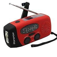 (Versión 2018) iRonsnow Solar Emergency NOAA Radio meteorológica Dynamo Manivela Autoamplificada AM FM WB Radios 3 LED Linterna 1000 mAh Cargador de teléfono inteligente Banco de energía (rojo)