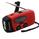 (Upgraded Version) iRonsnow Solar Emergency NOAA Weather Radio Dynamo Hand Crank Self Powered AM FM WB Radios 3 LED Flashlight 1000mAh Smart Phone Charger Power Bank (Red)