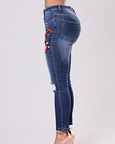 con Bolsillos Denim Skinny Cintura Plus Marino ZhuiKunA Vaqueros Tamaño Leggings Azul Destruido Mujeres Alta Bordado xHBFzwv0q