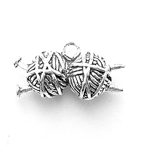 925 Sterling Silver Classic Yarn Balls With Knitting Needles Pendant - Charm Knitting Needles