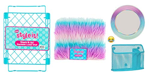 School Locker Organizer Kit - Accessories and Decoration Set with Shelf, Rug, Mirror and Bin (Teal Ombre Stripe)