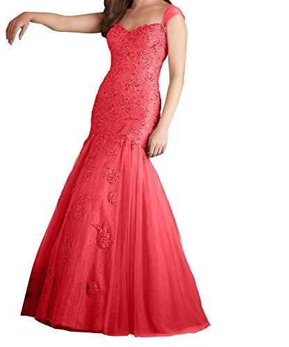 Traegerkleider Langes Damen Charmant Meerjungfrau Rot Kleid Promkleider Grau Abendkleider Spitze Abiballkleider nSxq16
