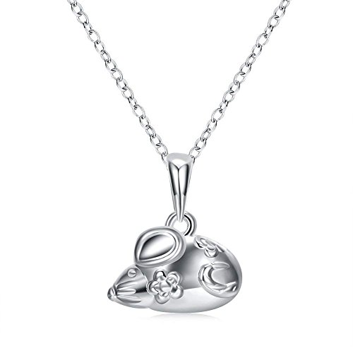 (Zhiwen 925 Sterling Silver Chinese Zodiac Amulet Pendant Necklace Various Animals, Men and Women Charm Necklace Gifts (Mouse))