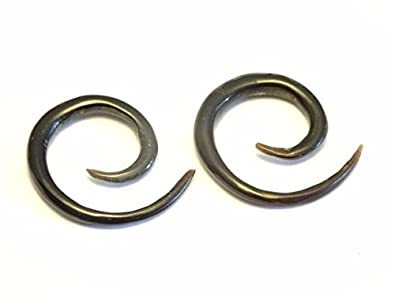 Dilatador cuerno hueso Pendientes Negro Pendientes Piercing ...