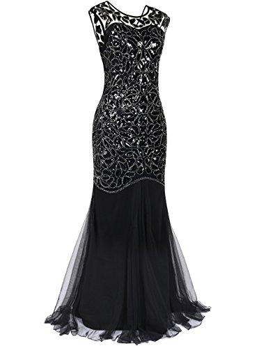De Fiesta Prettyguide Gatsby Noche 1920 Vestido Sirena Maxi Negro Dobladillo Mujeres's Largo Lentejuelas n0w1qZ0AB