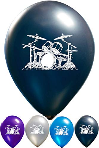 Drum Balloons - 12 Inch Latex - 2 Sided Print (16 Count) for Birthday Parties or Any Other Event Use - Fill with Air or Helium]()