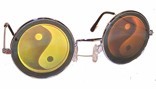 1 Pair of Round YIN Yang Hologram Glasses - Taoism 3d Novelty Unisex Novelty Holographic - Hologram Sunglasses
