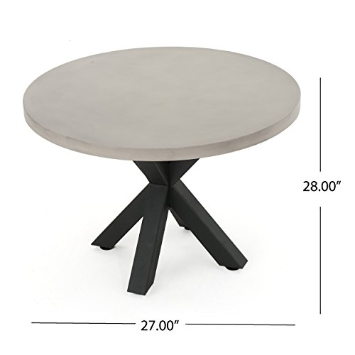 Carina outdoor iron pedestal base light weight concrete for Dining table weight