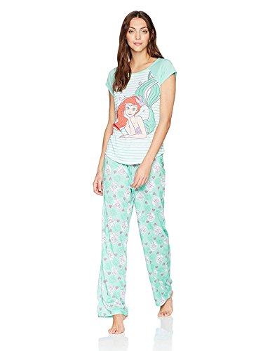 Disney Women's Little Mermaid Mommy and Me 2-Piece Pajama Set, Mermaid Blue, Medium -