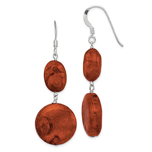 925 Sterling Silver Reconstituted Red Coral Drop Dangle Chandelier Earrings Fine Jewelry Gifts For Women For Her
