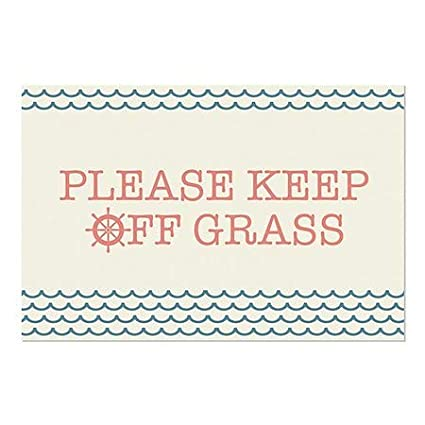 CGSignLab 36x24 Nautical Wave Window Cling Please Keep Off Grass 5-Pack