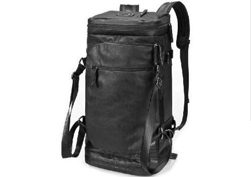 ZeleToile Pro-Multifunción De una capacidad larga Bolsa de PU Mochila de equipaje Bolso al hombro Bolsa casual (negro)