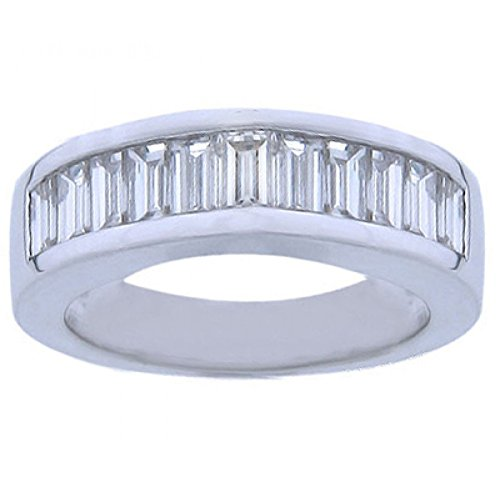 2.00 ct Ladies Baguette Cut Diamond Wedding Band in Channel Set in 14 kt White Gold In Size 9
