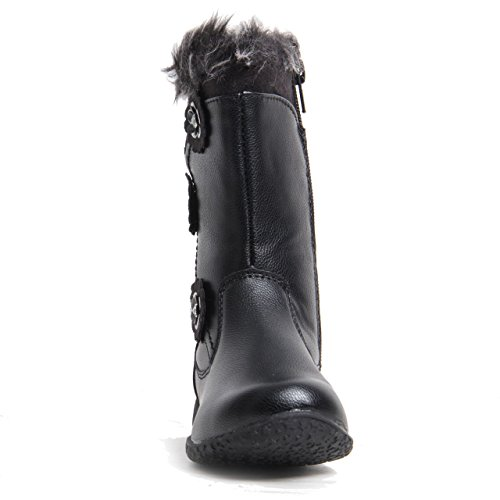 Womens Ladies Zip up Faux Leather Warm Diamante Synthetic Fur Trim Mid Calf Boot Black w7rQeS6fwH