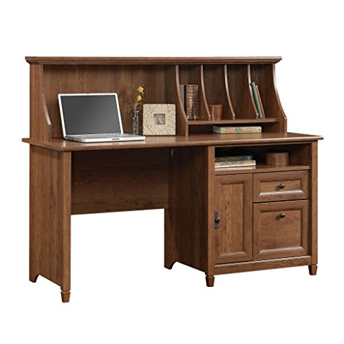 Sauder Edge Water Computer Desk With Hutch, Auburn Cherry finish