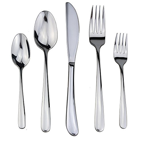 18 10 Stainless Steel Cutlery - Flatware Set, 20 Pieces Silverware, 18/10 Stainless Steel Cutlery Mirror Polished by Dealight - for 4 People, Clearance