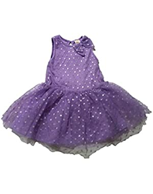 Baby Girl Sparkle Dot Dress, 12-18 months, Purple