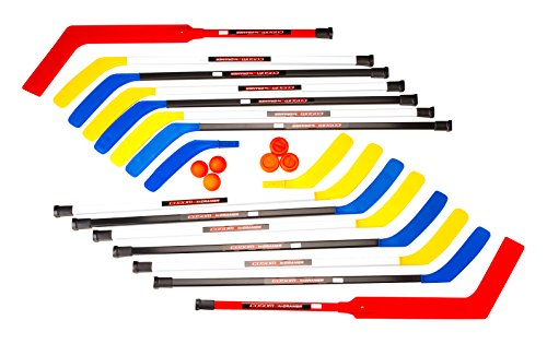 Cosom Senior Hockey Sticks for Floor Hockey and Street Hockey, Hockey Equipment for Phys Ed and Hockey Practice, 20 Pieces 12 Plastic Sticks, 2 Goalie Sticks, 3 Pucks and 3 Balls, 47