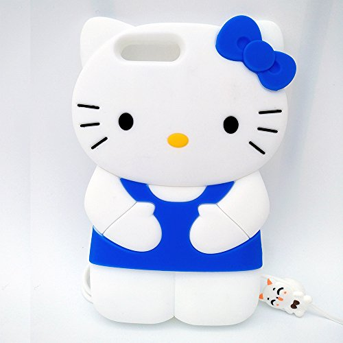 iPhone 7 Plus Case,iPhone 8 Plus Case,Kitty Shaped Adorable 3D Cute Cartoon Character Soft Rubber Silicone Case with a Strap (5.5 Inch)(Kitty Blue)