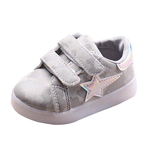 Hunpta Kleinkind Baby Turnschuh Stern leuchtendes Kind beiläufige bunte helle Schuhe Grau