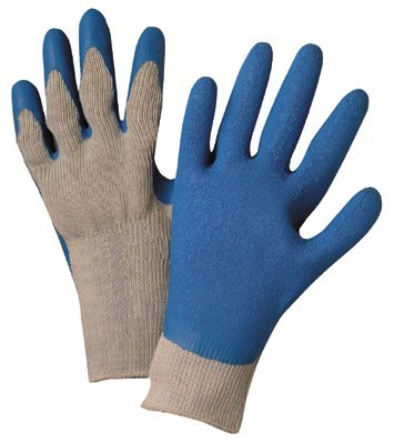 Latex Coated Gloves, X-Large, Blue/Gray (60 Pack)