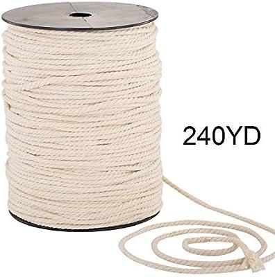Cuerda de macramé de 4 mm x 249 m, 100% algodón natural, cuerda de macramé, 3 hebras trenzadas de algodón para colgar en la pared: Amazon.es: Libros
