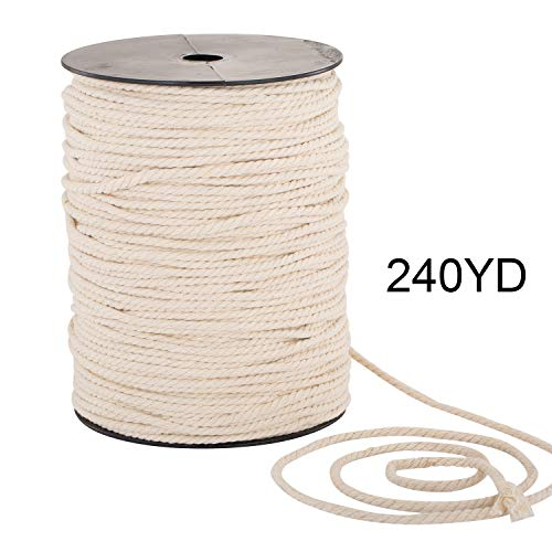 Macrame Cord 4mm x 240yd | 100% Natual Cotton Macrame Rope | 3 Strand Twisted Cotton Cord for Handmade Plant Hanger Wall Hanging Craft Making ()