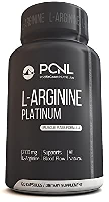 PacificCoast NutriLabs 2100mg L Arginine, All-Natural Muscle Mass Formula, Free Ebook, 120 Capsules