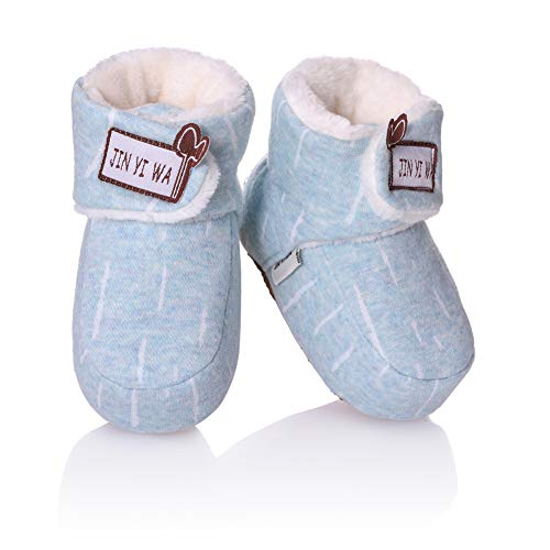 RONGBLUE Newborn Infant Baby Girls Boys Slippers Super Soft Warm Fleece Booties Crib Shoes with Grippers for 0-18 Month Blue, 6-12 Months