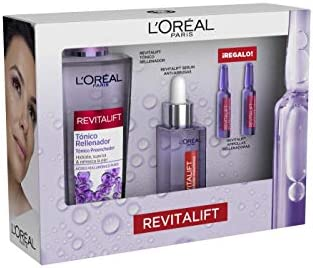 L'Oréal Paris Pack Revitalift Filler, Incl. Sérum Antiarrugas con Ácido Hialurónico Puro, 30 ml, Tónico Rellenador Anti edad con Ácido Hialurónico, 200 ml y 2 Uds. De Ampollas Rellenadoras de Regalo