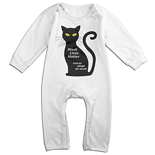 Baby Infant Romper Black Cat Heartbeat Long Sleeve Jumpsuit Costume White 24 Months (Welcome Mat Costume)