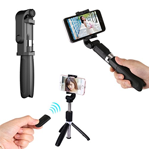 Bluetooth Selfie Stick Tripod Extendable Selfie Stick with Wireless Remote and Tripod Stand Selfie Stick for iPhone X/iPhone 8/8 Plus/iPhone 7/iPhone 7 Plus/Huawei/Samsung/Google (Black)